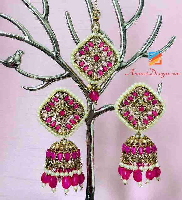 POLKI Magenta and Off White Jhumki Tikka Earring Set