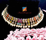 Polki Multicoloured Choker Necklace