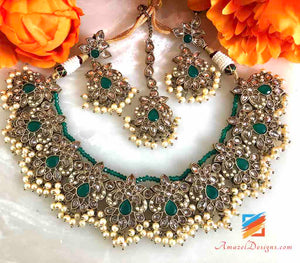 Polki Emerald Necklace with Earrings and Tikka Set