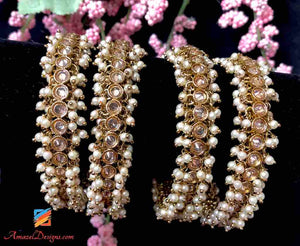 Polki Pearls Bangle 2.6 - Comes in a pair