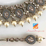 Grey Polki Necklace and Small Jhumki Tikka Set