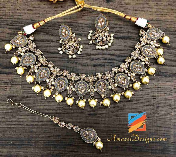 Grey Polki Necklace and Small Jhumki
