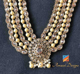 High Quality Champagne Polki 5 Layer Mala Necklace Set