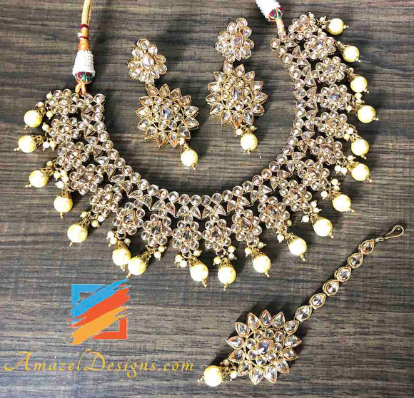 Elegant Polki Champagne Necklace Set