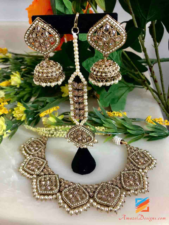 Polki Champagne Color Necklace with Earrings and Tikka