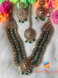 High Quality Emerald Polki 5 Layer Mala Necklace Set