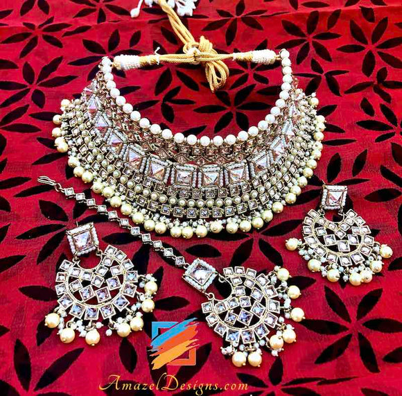 Bridal Polki Necklace and Earrings Tikka Set
