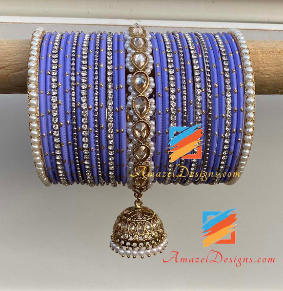 Purple Jhumki Kada Bangle Set