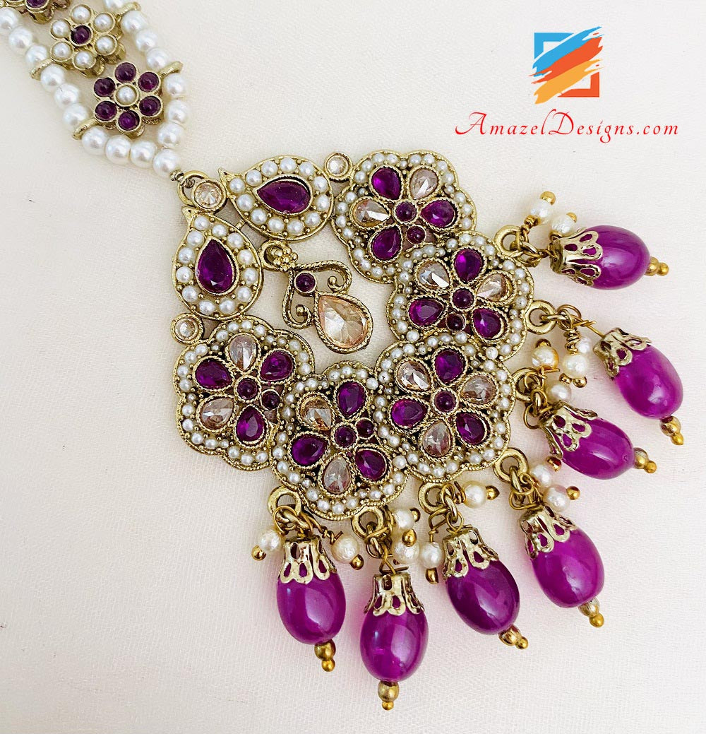 Purple Polki And Beads Earrings Tikka Set
