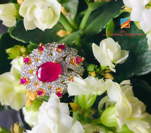 Ring Ruby Diamond Look Adjustable Size