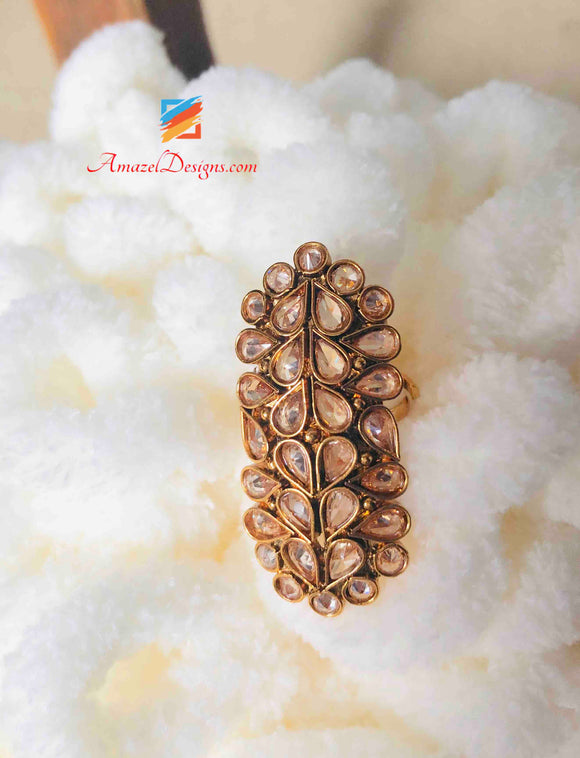 Ring Kundan Adjustable Long
