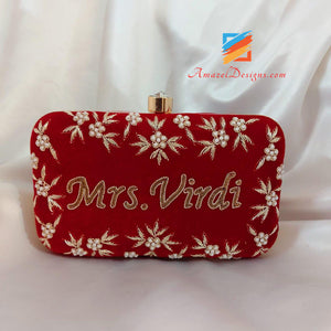 Red Clutch With Pearls