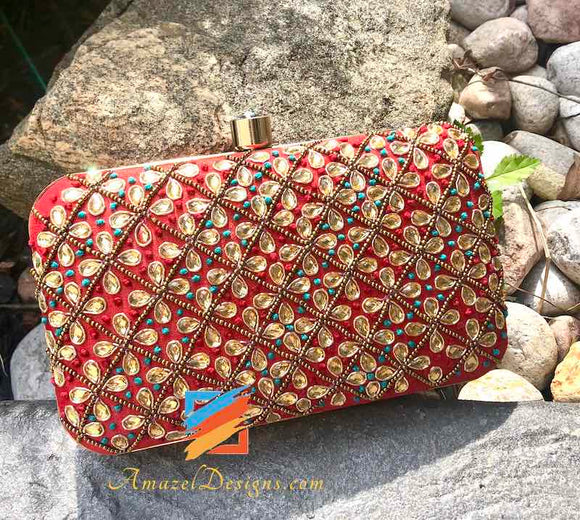 Red Clutch with Stones and Beads Work