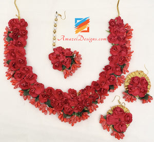 Red Flower Necklace Earrings Tikka And Kadas