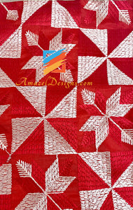 Red Fulkari Four Sided Golden Tissue Lace