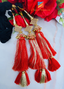 Red Golden Paranda With Stones And Ghungroo