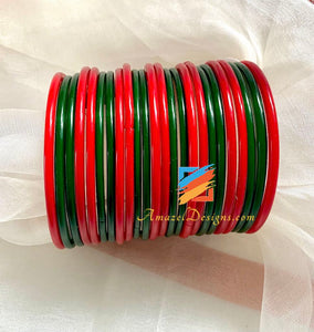 Red Green Glass Bangles