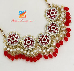 Red Kundan Hand Painted Choker/Necklace Studs Earrings Tikka Set