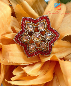 Red Polki Adjustable Ring