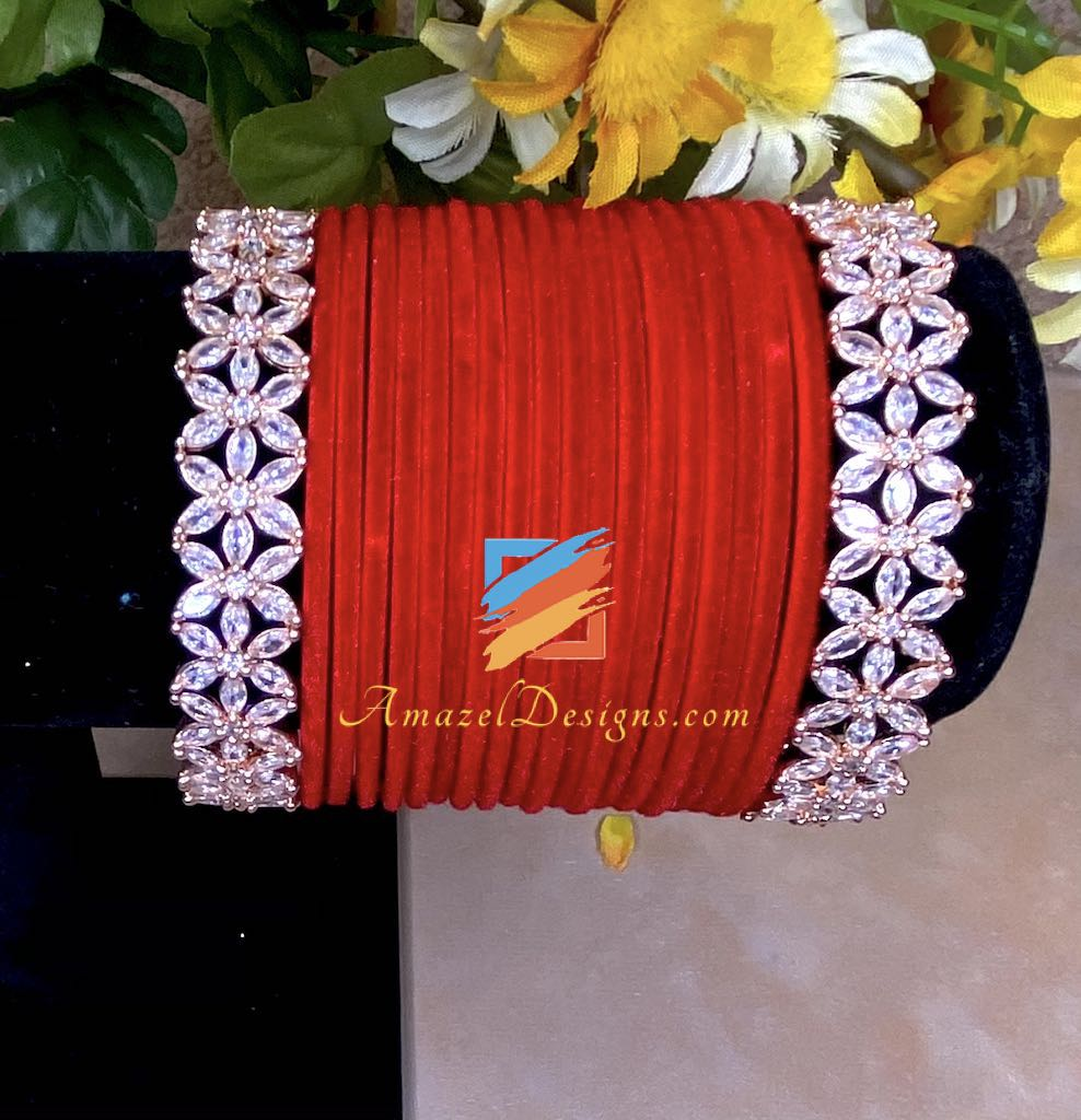 Red Velvet American Diamond AD Bangle Set