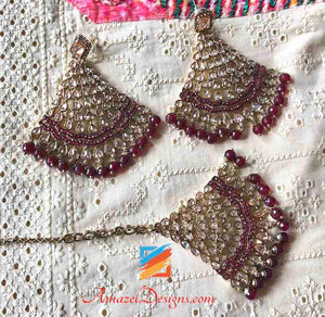 Red Polki Earring Tikka Set