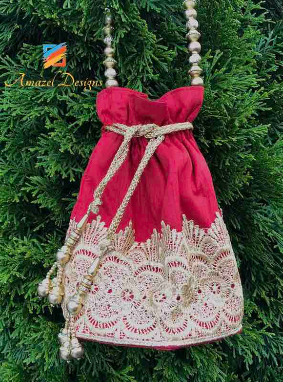 Red Silk Potli Bag