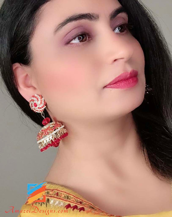 Red and Silver stones Jhumka with Hanging Red Glass Pearl