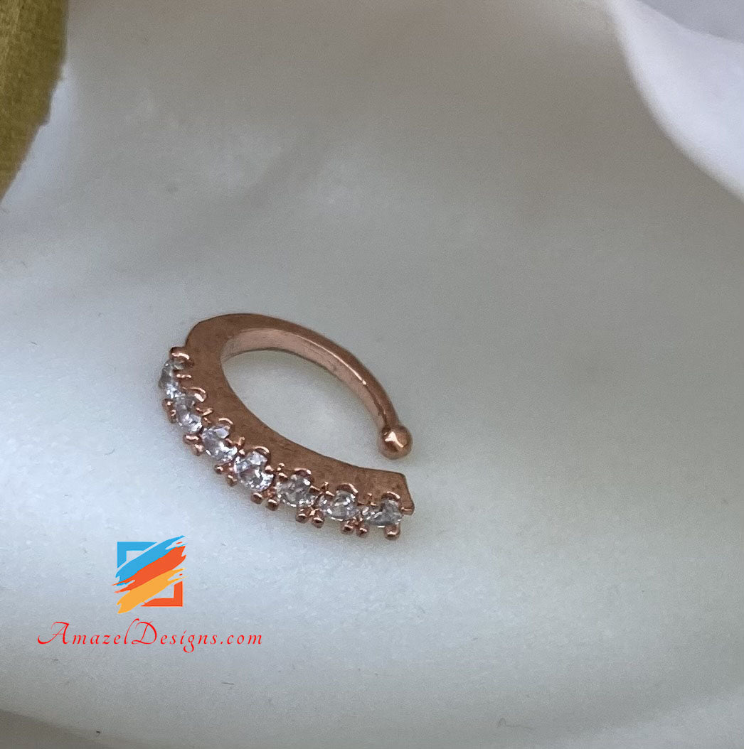 Rose Gold Clip On Nose Ring with Stone