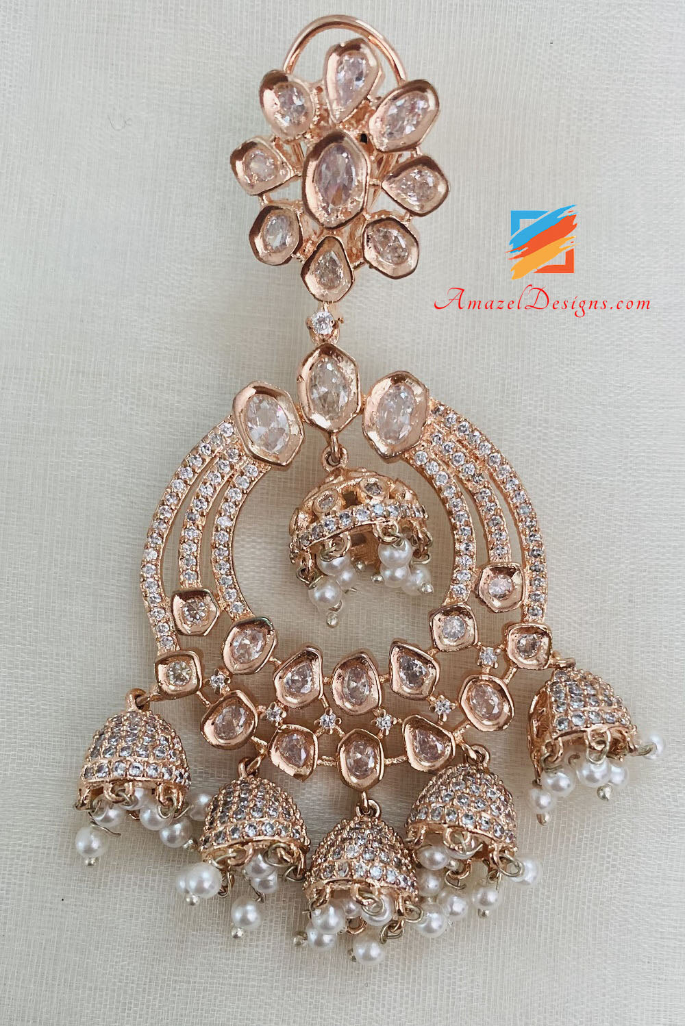 Rose Gold Earrings With Small Jhumkis On The Bottom