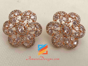 Rose Gold (AD) American Diamond Normal Size Stud