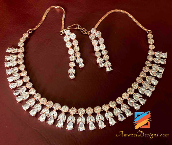 Rose Gold American Diamond (AD) Necklace Earrings Set