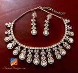 Rose Gold and Silver American Diamond AD Necklace and Earrings set