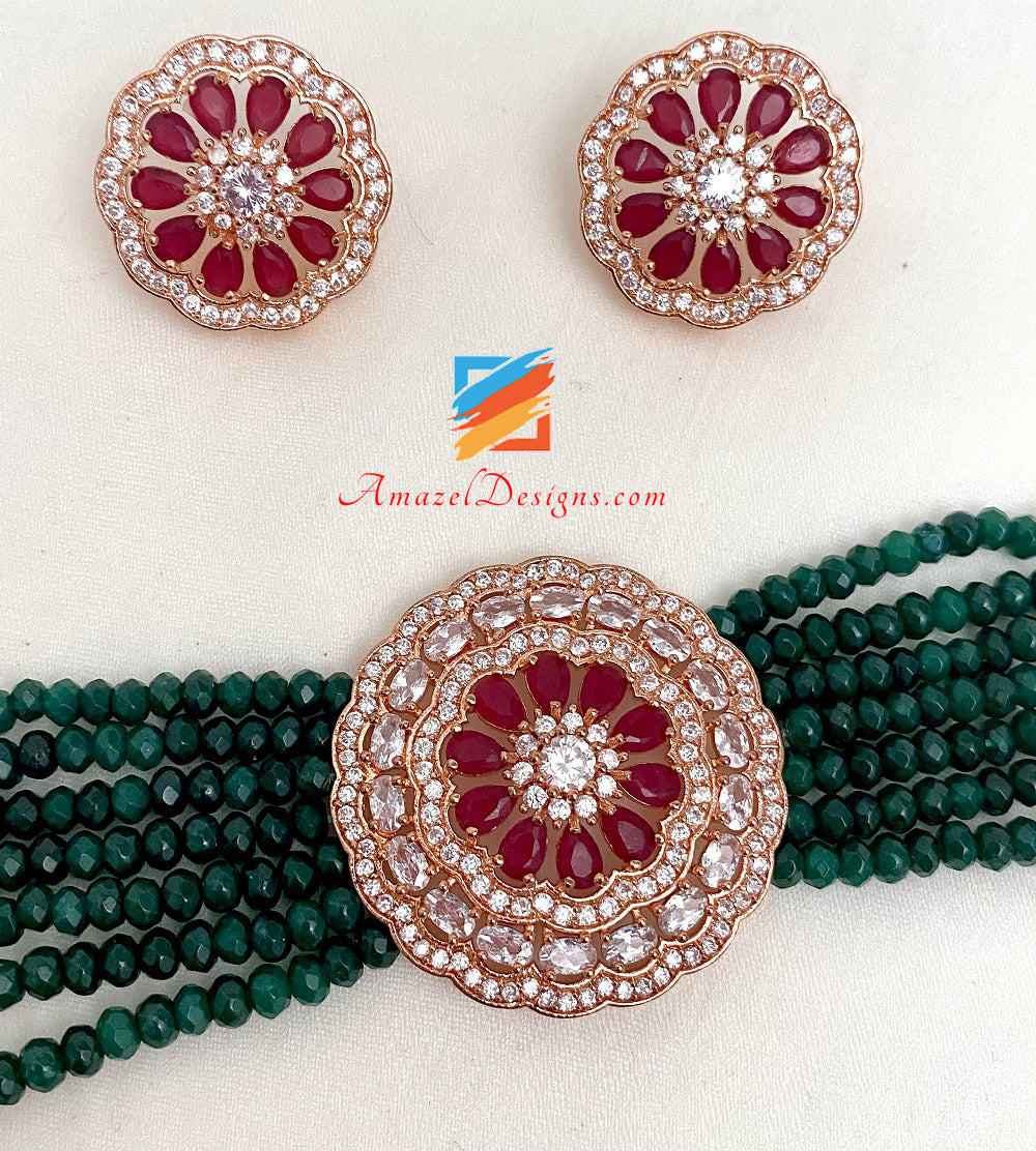 Rosegold American Diamond (AD) Maroon And Green Choker Band Necklace With Studs