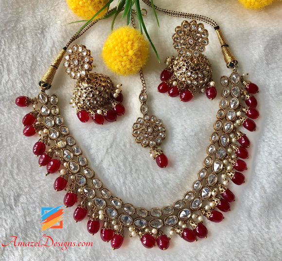 Clear Polki Ruby Necklace Set