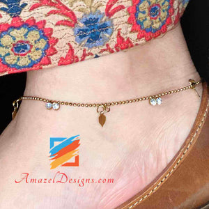 Rustic Gold Anklet with Hanging Charms