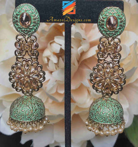 Seagreen Painted Polki Lightweight Jhumki Earrings