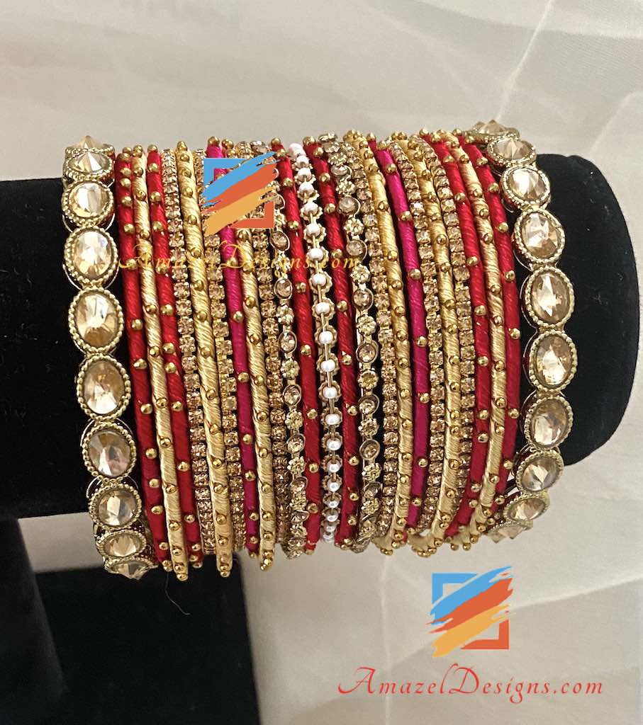 Silk Thread Kundan Kada Bangle Set