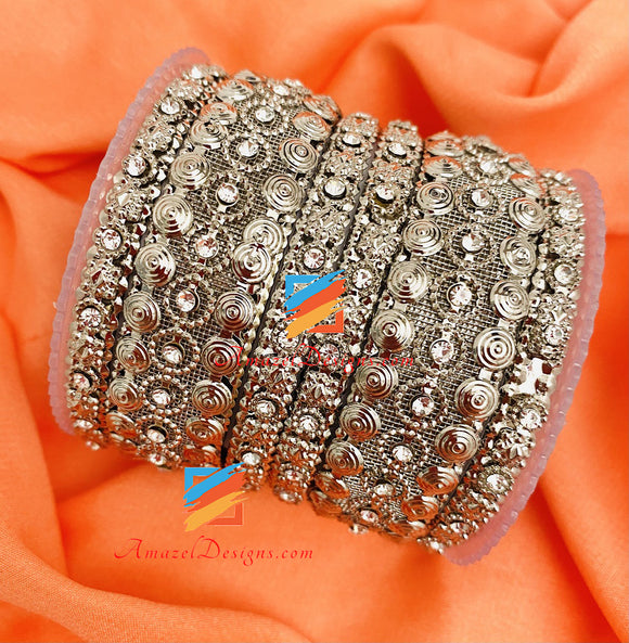 Silver Kada with Stones Bangle Set