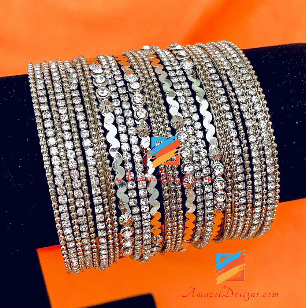 Silver Mix Bangle Set