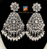 Silver Polki Earrings