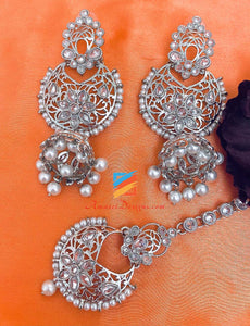 Silver Polki Earrings With Jhumki and Tikka Set