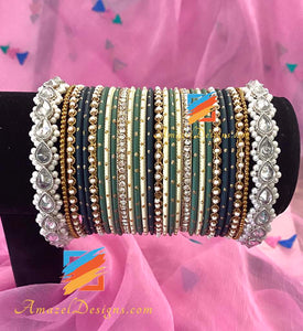 Silver Polki Mix Bangle Set