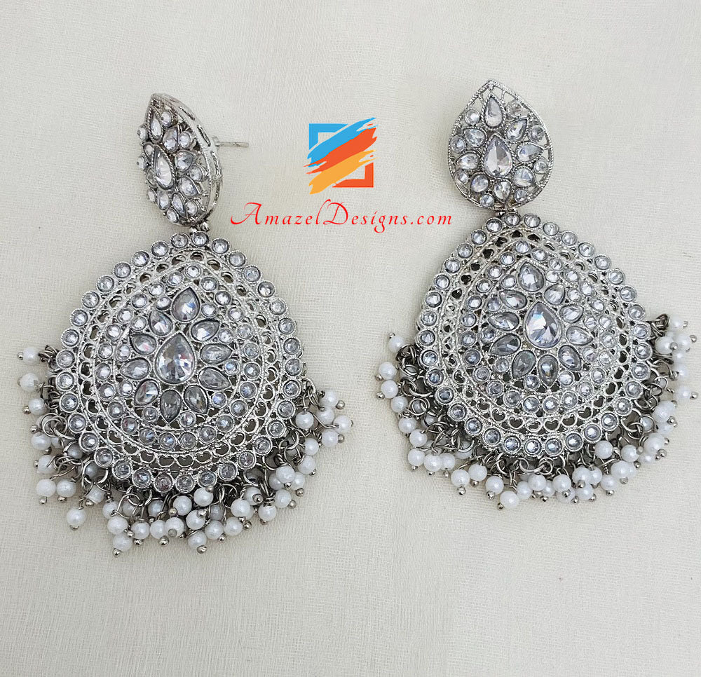 Silver Polki Necklace Earrings Tikka Set With White Beads
