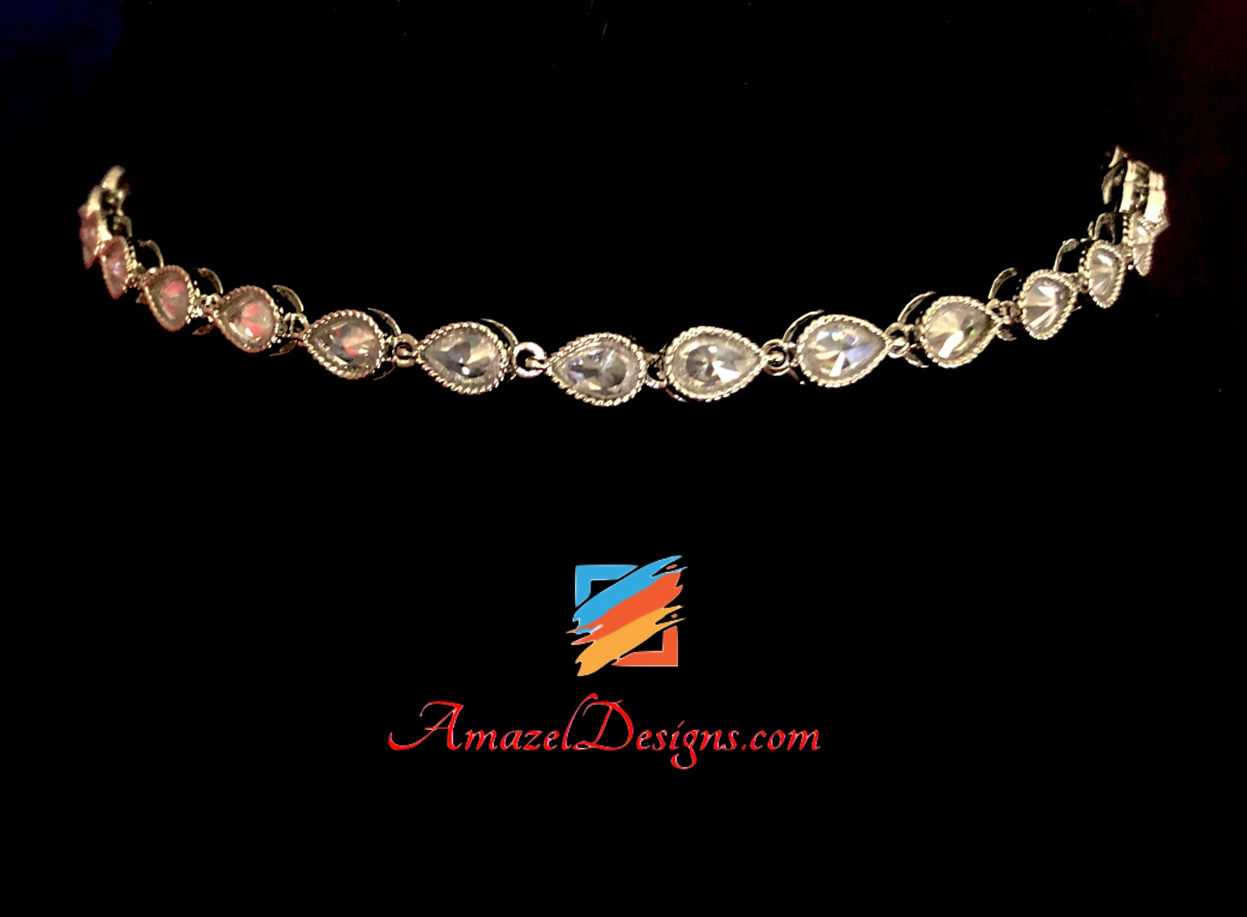 Elegant Silver Polki Single Line Choker/Necklace