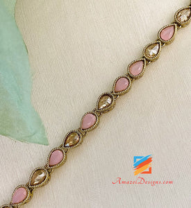 Single Line Pink Polki Necklace
