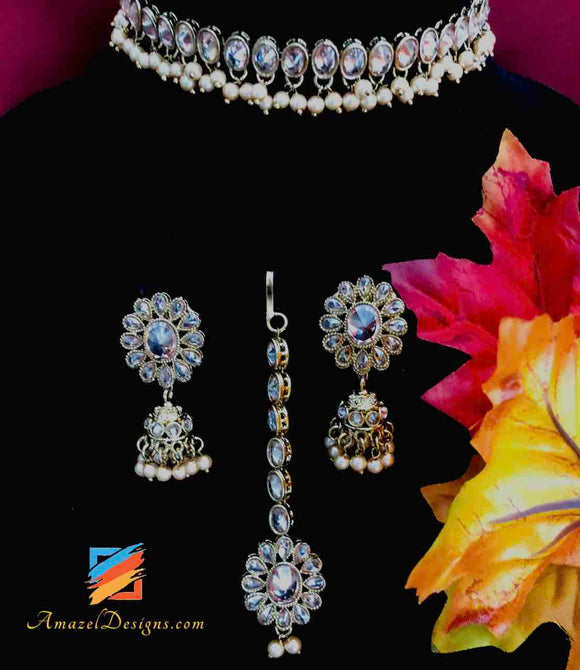 Single Line Polki Choker with Jhumki and Tikka Set