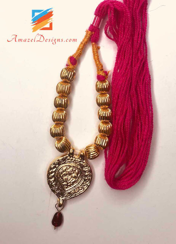 Small Traditional Kaintha with Magenta Dori