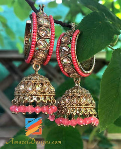 Small Polki Waali with Jhumki and Dark Pink Beads