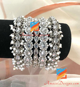 Statement Polki Kada Silver Bangle Set