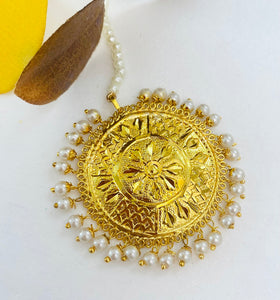 Super Lightweight Golden Traditional Multicoloured Jhumka and Tikka Set